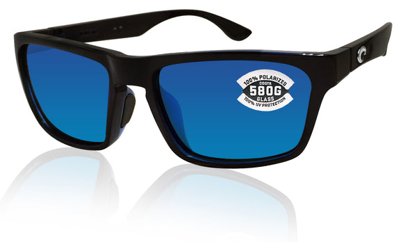 Costa Del Mar Hinano Shiny Black Frame Blue Mirror 580 Glass Polarized Lens