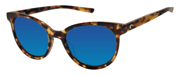 Costa Del Mar Isla Shiny Tortoise Blue Mirror 580 Glass Polarized Lens