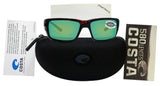 Costa Del Mar Fantail Tortoise Frame Green Mirror 580G Glass Polarized Lens