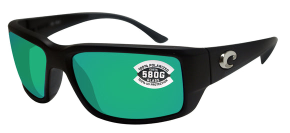 Costa Del Mar Fantail Black Frame Green Mirror 580G Glass Polarized Lens