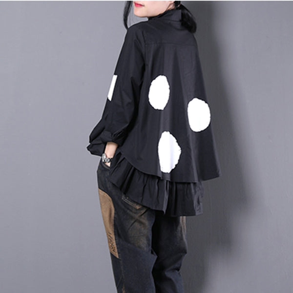 SKANDi Frill Detail Large Spot Cotton Shirt