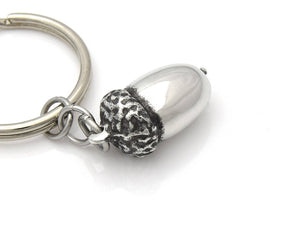 Acorn Keychain, Oak Nature Keyring in Pewter