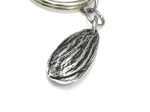 Almond Keychain, Nut Nature Keyring in Pewter