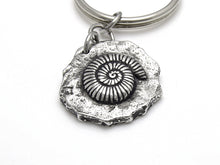 Ammonite Keychain, Fossil Keyring in Pewter