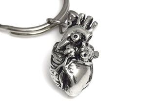 Anatomical Heart Keychain, Anatomy Keyring in Pewter