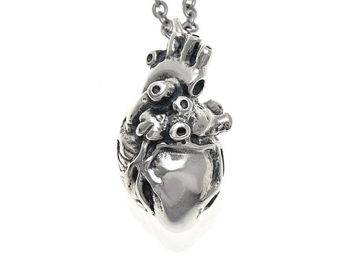Anatomical Heart Necklace, Anatomy Jewelry in Sterling Silver