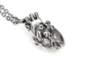 Veiny Anatomical Heart Necklace, Handmade Anatomy Jewelry