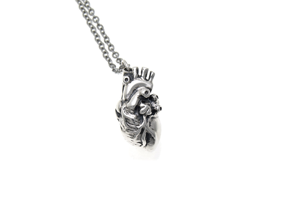 Anatomical Heart Necklace in Sterling Silver, Anatomy Jewelry – Farjil