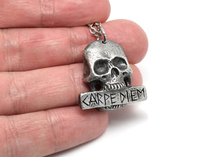 Antiqued Carpe Diem Skull Necklace, Seize the Day Jewelry