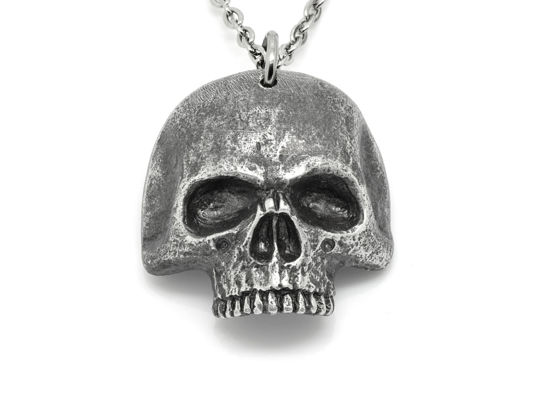 Antiqued Jawless Human Skull Necklace, Aged Pewter Jewelry