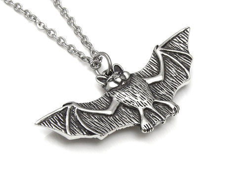 Bat Necklace, Animal Vampire Jewelry in Pewter
