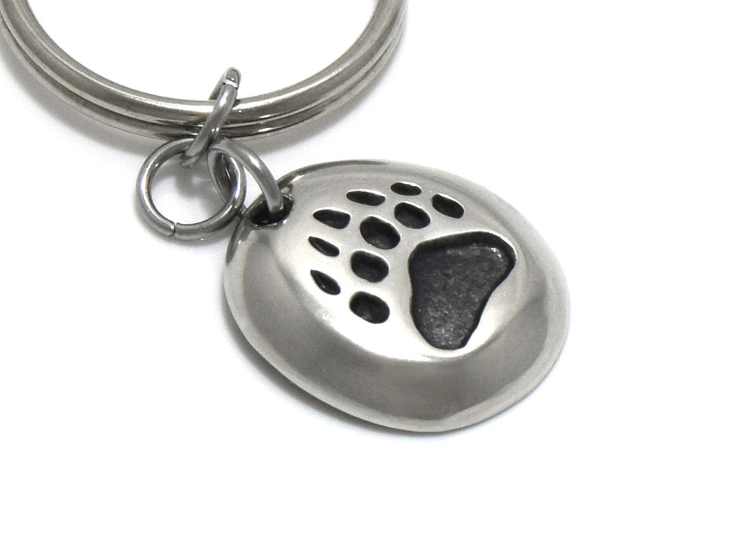Bear Track Keychain, Animal Keyring in Pewter