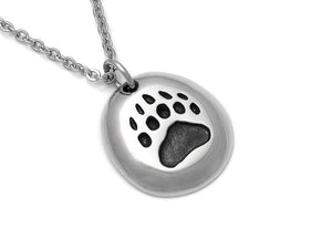 Bear Track Necklace, Animal Footprint Jewelry in Pewter