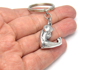 Biceps Keychain, Arm Muscle Keyring in Pewter