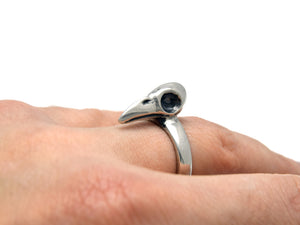 Raven Bird Skull Ring, Skeleton Bird Jewelry in Pewter