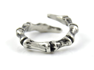 Phalanx Finger Bone Ring, Anatomical Jewelry in Pewter