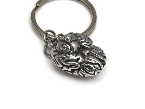 Human Brain Keychain, Anatomical Keyring in Pewter