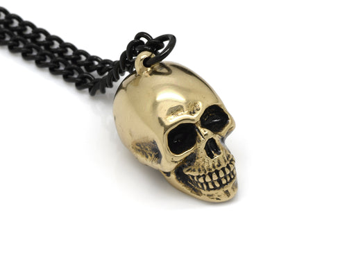 Bronze Human Skull Necklace, Memento Mori Jewelry