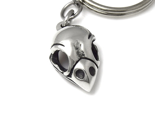 Bullfinch Skull Keychain, Bird Skeleton Keyring in Pewter