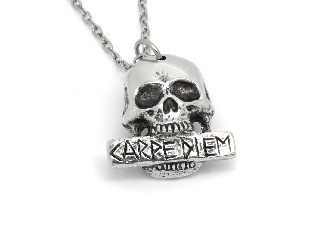 Human Skull with Carpe Diem Plaque Necklace, Heavy Metal Jewelry