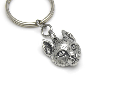 Cat Head Keychain, Animal Face Keyring in Pewter