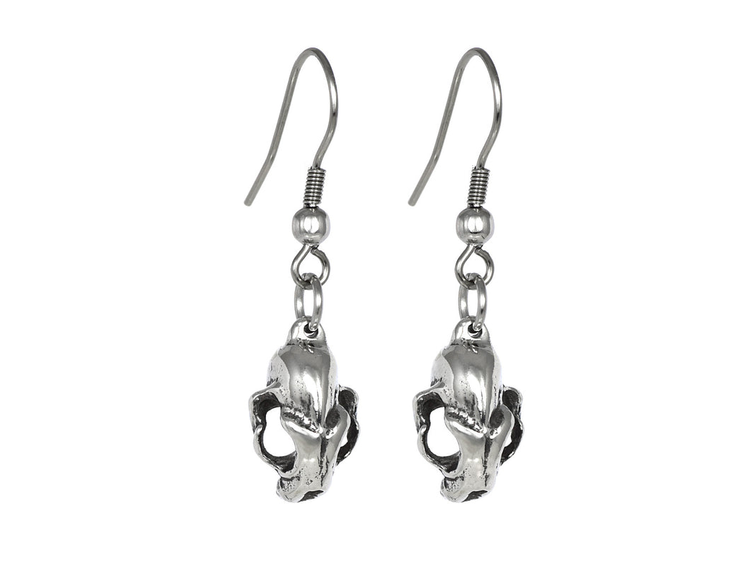Cat Skull Dangle Earrings, Goth Jewelry in Pewter