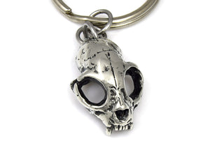 Cat Skull Keychain, Animal Skeleton Keyring in Pewter
