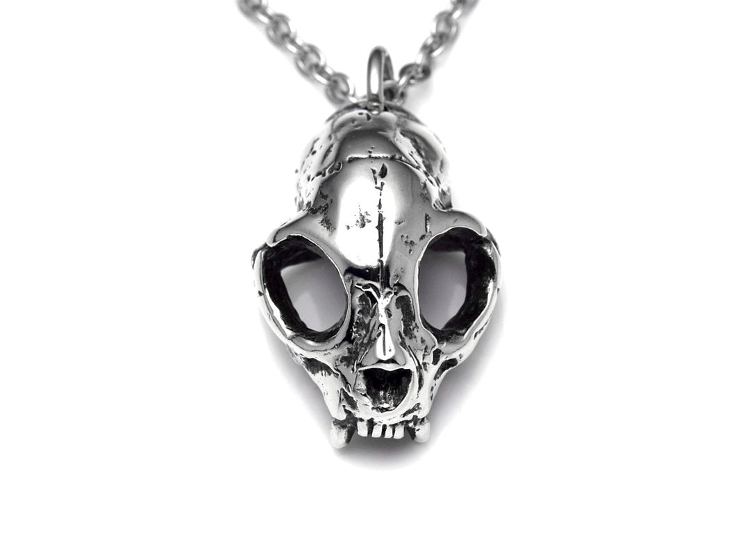 Cat Skull Necklace, Animal Jewelry in Pewter