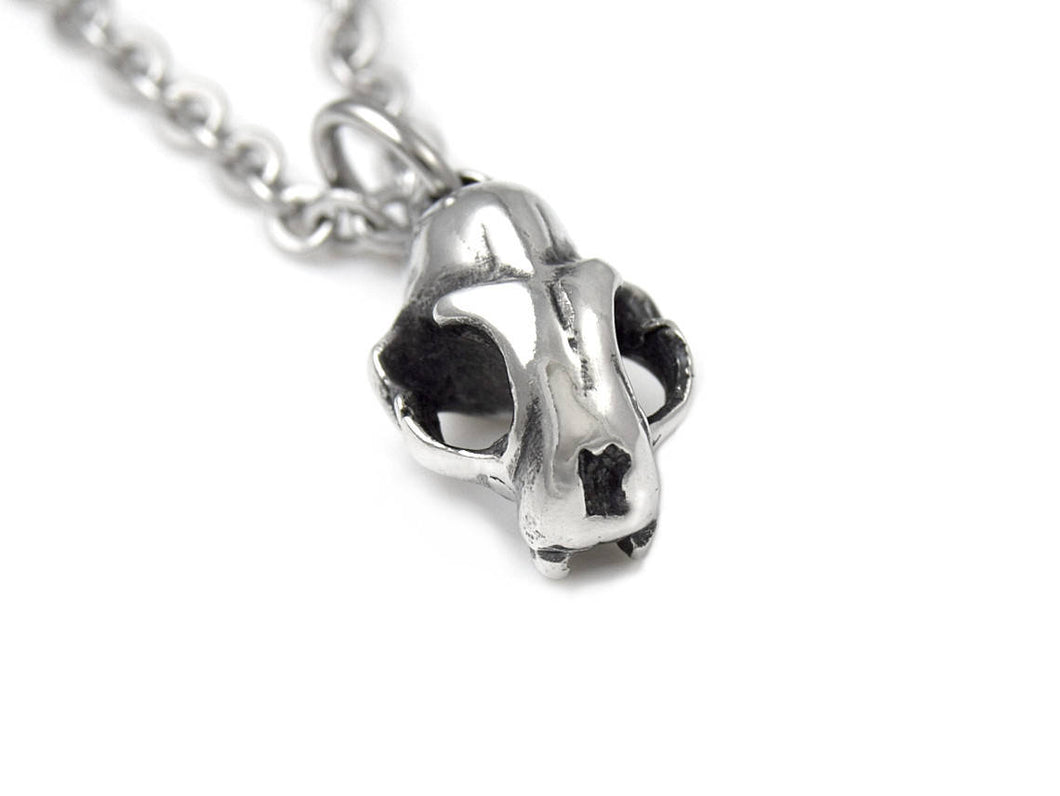 Tiny Cat Skull Necklace, Animal Rock Jewelry in Pewter