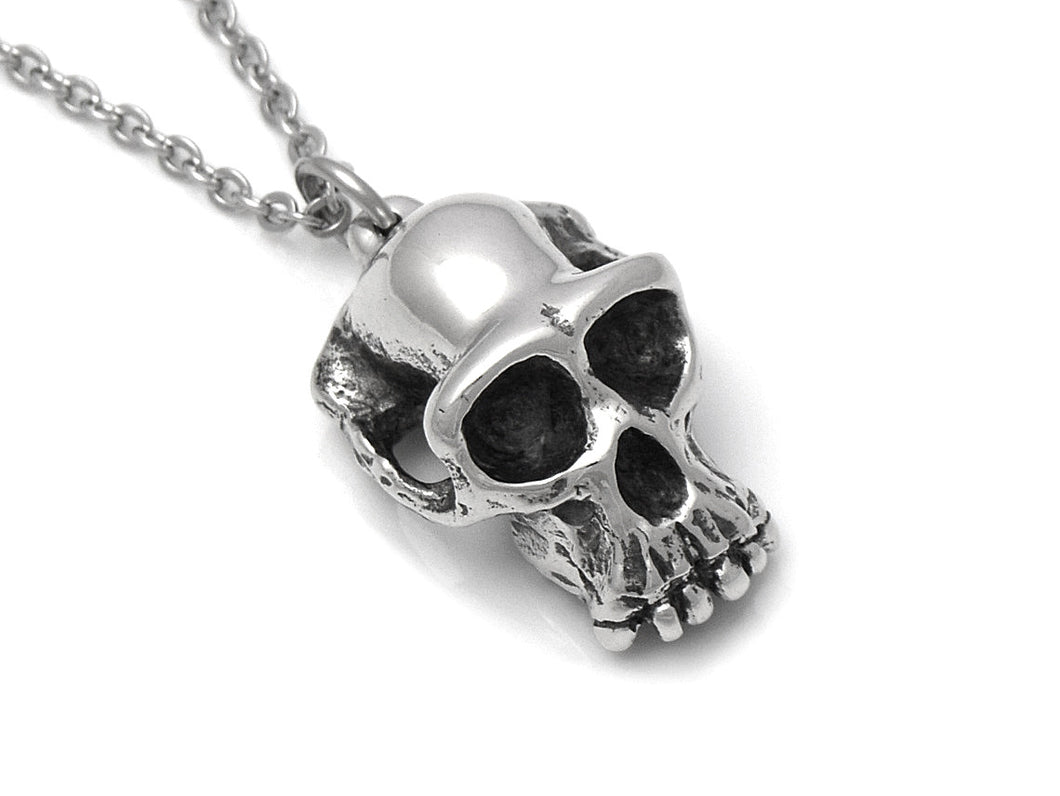 Chimpanzee Skull Necklace, Ape Jewelry in Pewter