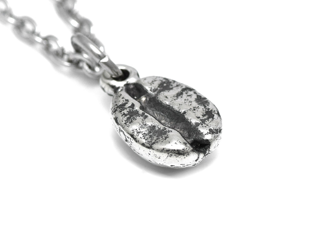 Coffee Bean Necklace, Caffeine Jewelry in Pewter