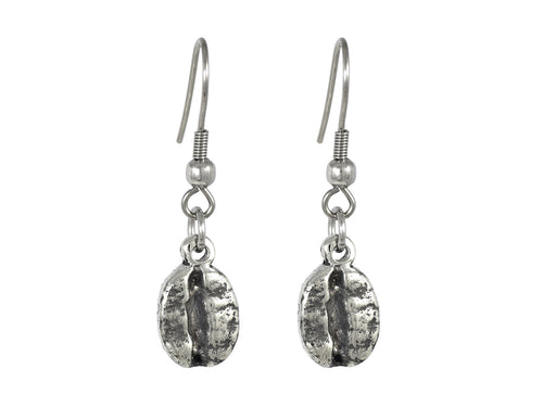 Dangle Coffee Bean Earrings, Food Jewelry in Pewter