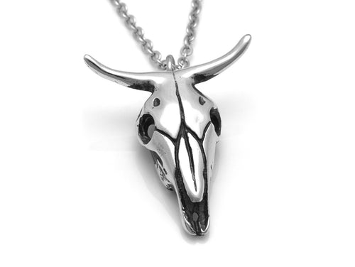 Cow Skull Necklace, Animal Jewelry in Pewter