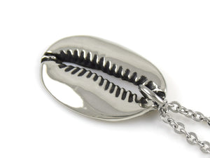 Cowrie Shell Necklace, Nature Jewelry in Pewter