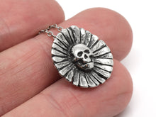 Deadly Daisy Human Skull and Flower Necklace, Floral Jewelry