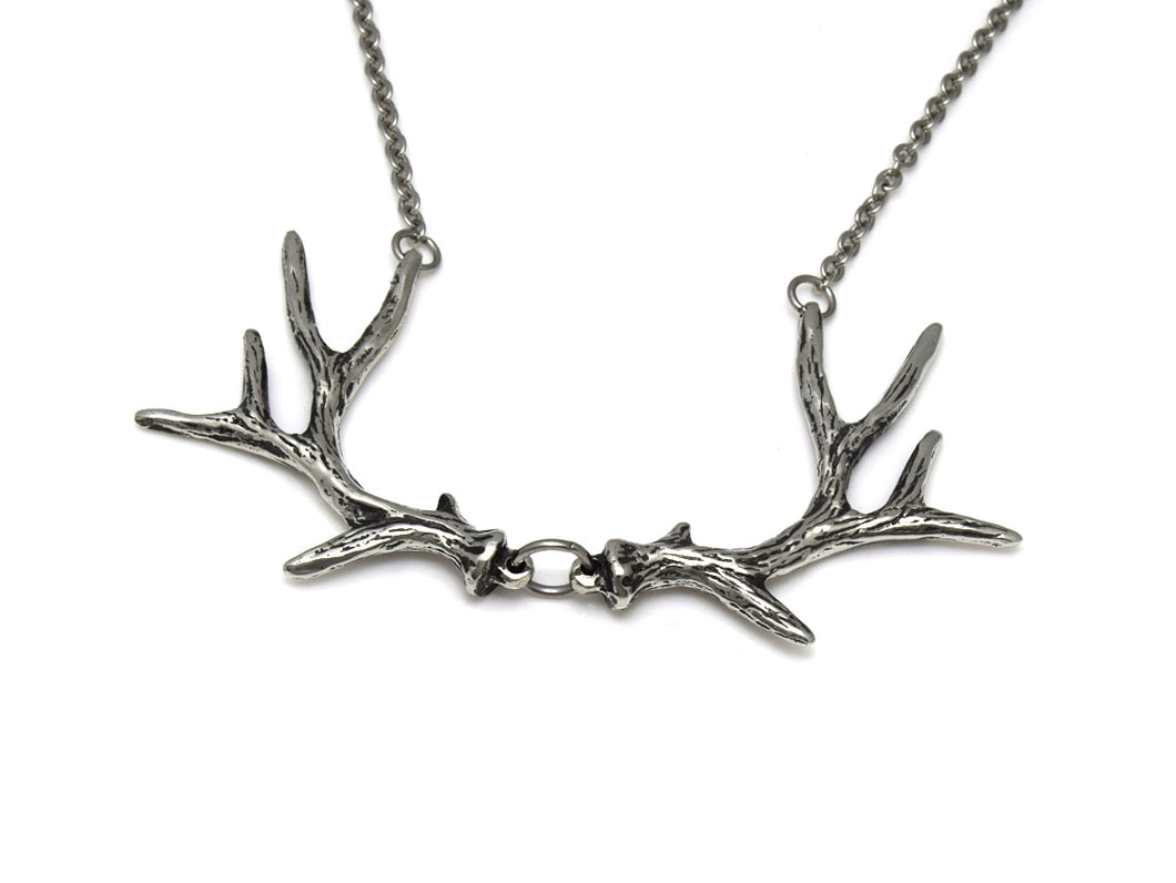 Deer Antler Choker Necklace, Animal Jewelry in Pewter