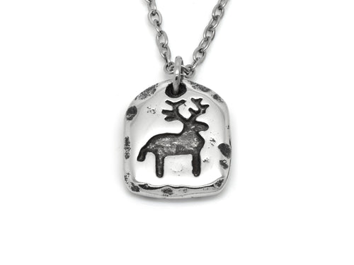 Deer Rock Carving Pendant Necklace, Cave Painting Jewelry