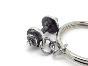 Barbell Keychain, Dumbbell Keyring in Pewter