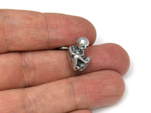 Fetus Keychain, Infant Anatomy Keyring in Pewter