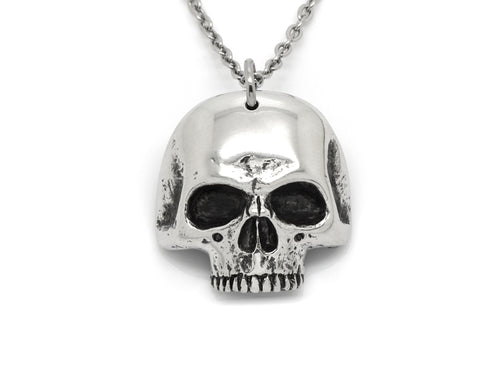 Jawless Human Skull Necklace, Memento Mori Jewelry