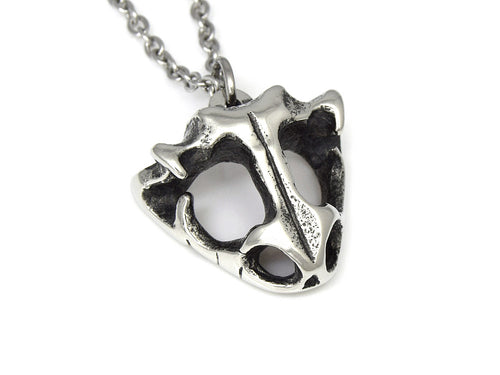 Frog Skull Necklace, Animal Skeleton Jewelry in Pewter