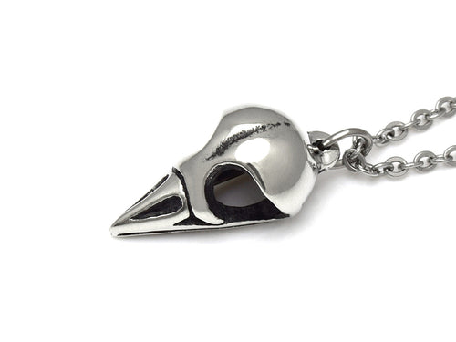 Goldcrest Skull Necklace, Ornithology Bird Jewelry in Pewter