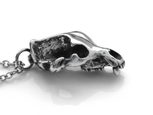 Grizzly Bear Skull Necklace, Animal Jewelry in Pewter
