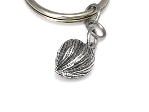 Hazelnut Keychain, Nature Keyring in Pewter