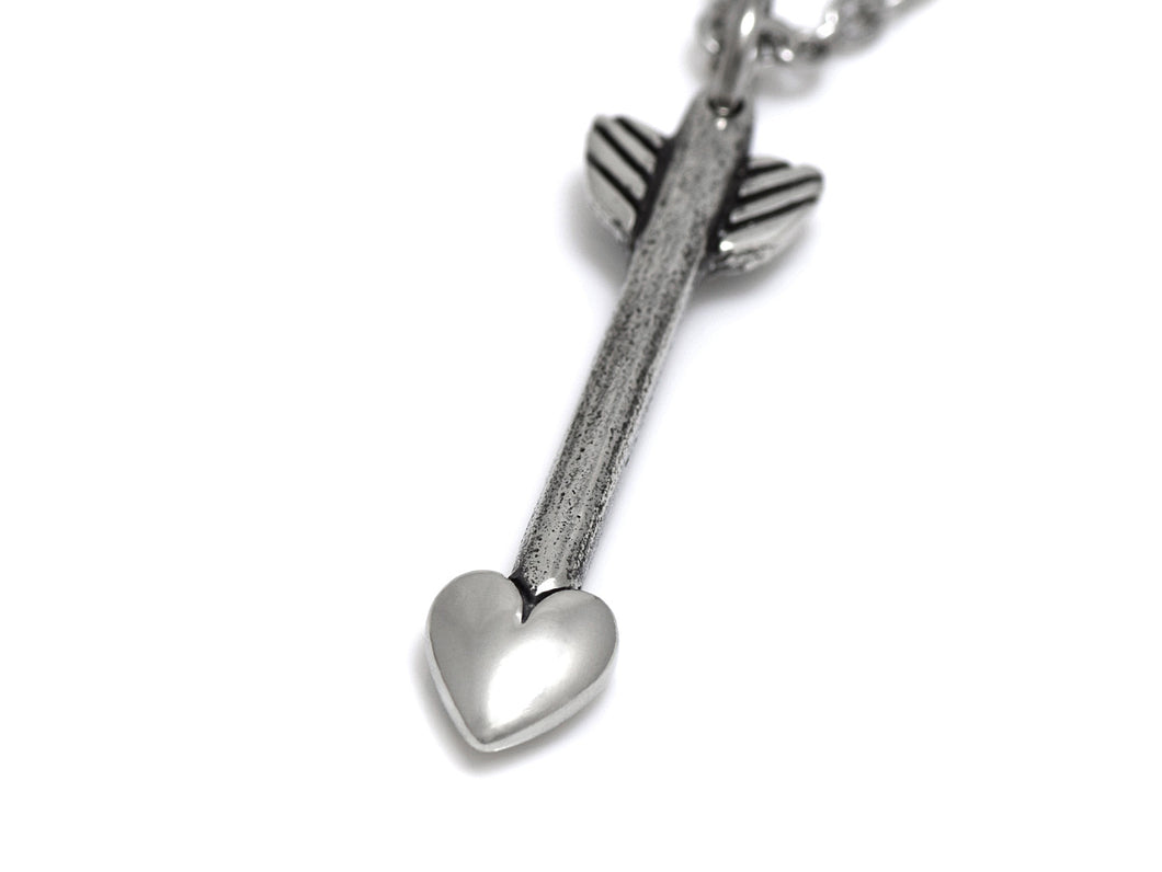 Heart Arrow Necklace, Love Jewelry in Pewter