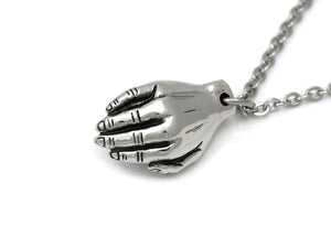 Hand Holding Heart Necklace, Anatomy Jewelry in Pewter