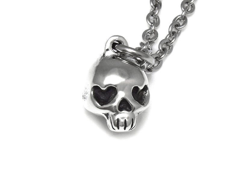 Heart Shaped Eyes Skull Necklace, Rock Jewelry