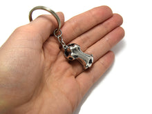 Hippo Skull Keychain, Animal Skeleton Keyring in Pewter