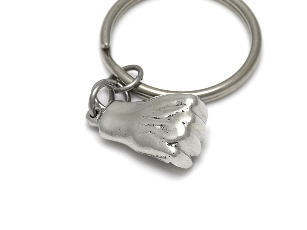 Human Fist Keychain, Power Symbol Keyring in Pewter