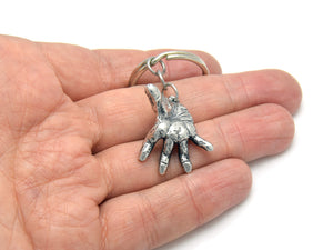 Human Hand Keychain, Anatomical Keyring in Pewter